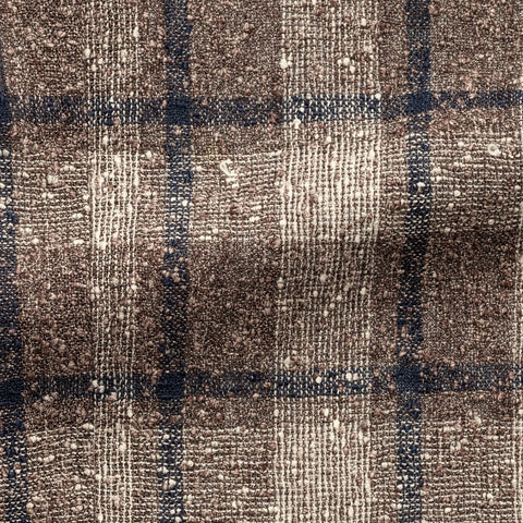 Ferla taupe & ivory navy linen blend slubbed open weave with glencheck