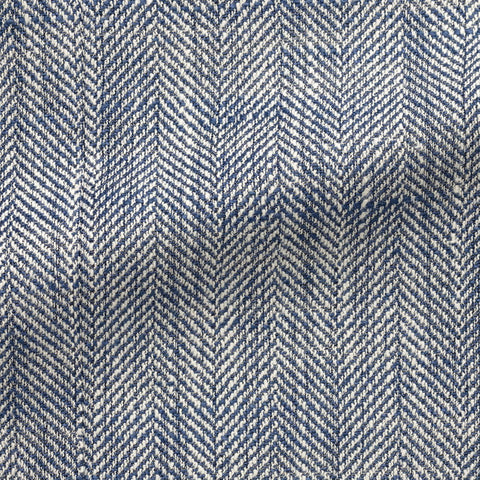 Ferla blue white silk, linen & cotton blend slubbed herringbone