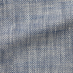 blue-white-silk-linen-cotton-blend-slubbed-herringbone Fabric
