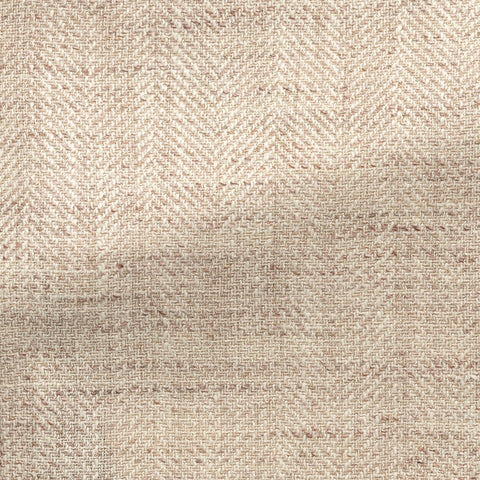 Ferla sand ivory silk, linen & cotton blend slubbed herringbone