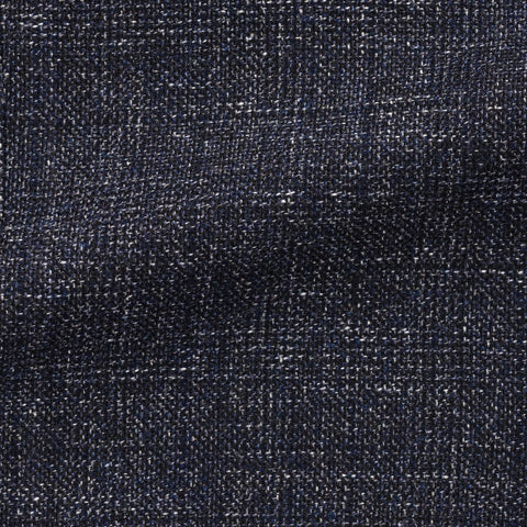 Angelico Dark Blue Black Wool Cotton Blend Mouliné Glencheck