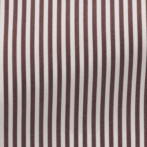 Albini Comfort 100 White Stretch Cotton Blend with Brown Stripes