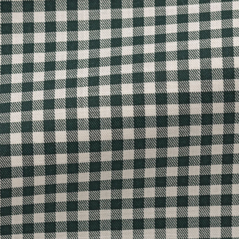 white cotton with forest green check