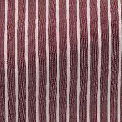 Albini Comfort 100 Red Stretch Cotton Blend with White Stripes