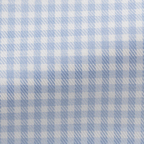 white cotton with light blue check