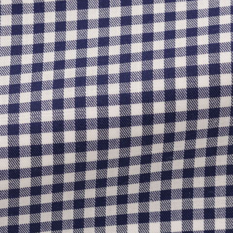 white stretch cotton blend with dark blue check