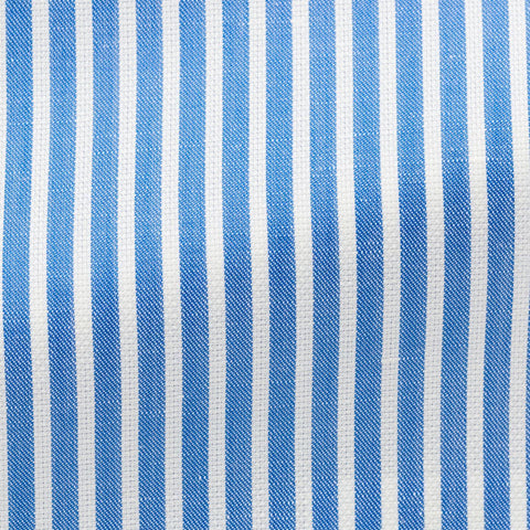 Weba azure blue cotton linen twill with white stitched stripes