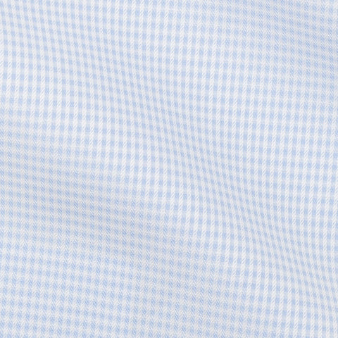Thomas Mason dobby check light blue two-ply cotton