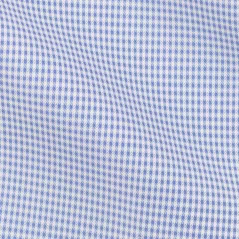 Thomas Mason dobby check mid blue two-ply cotton