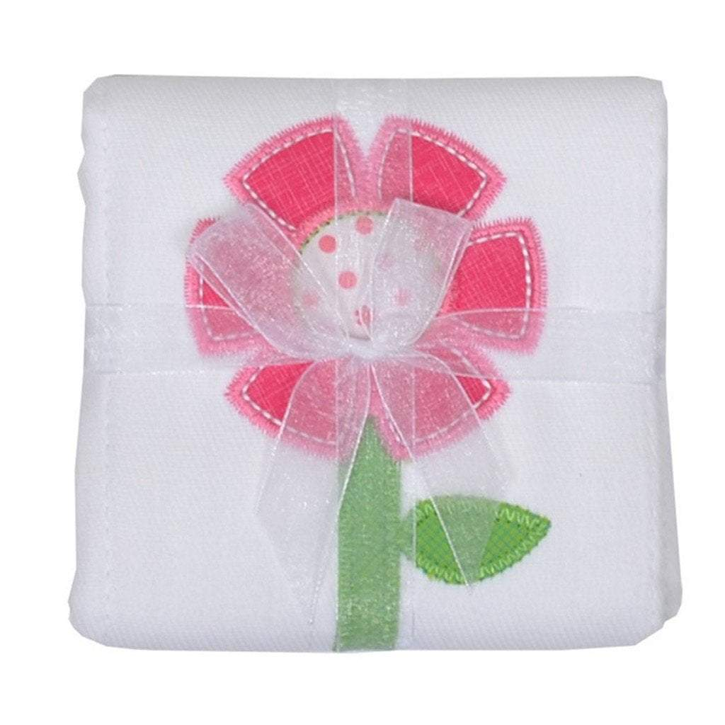 3 Marthas Baby Care 3 Marthas Appliqued Cotton Burp Cloth Flower