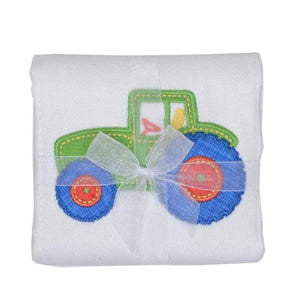 3 Marthas Baby Care 3 Marthas Appliqued Cotton Burp Cloth Tractor