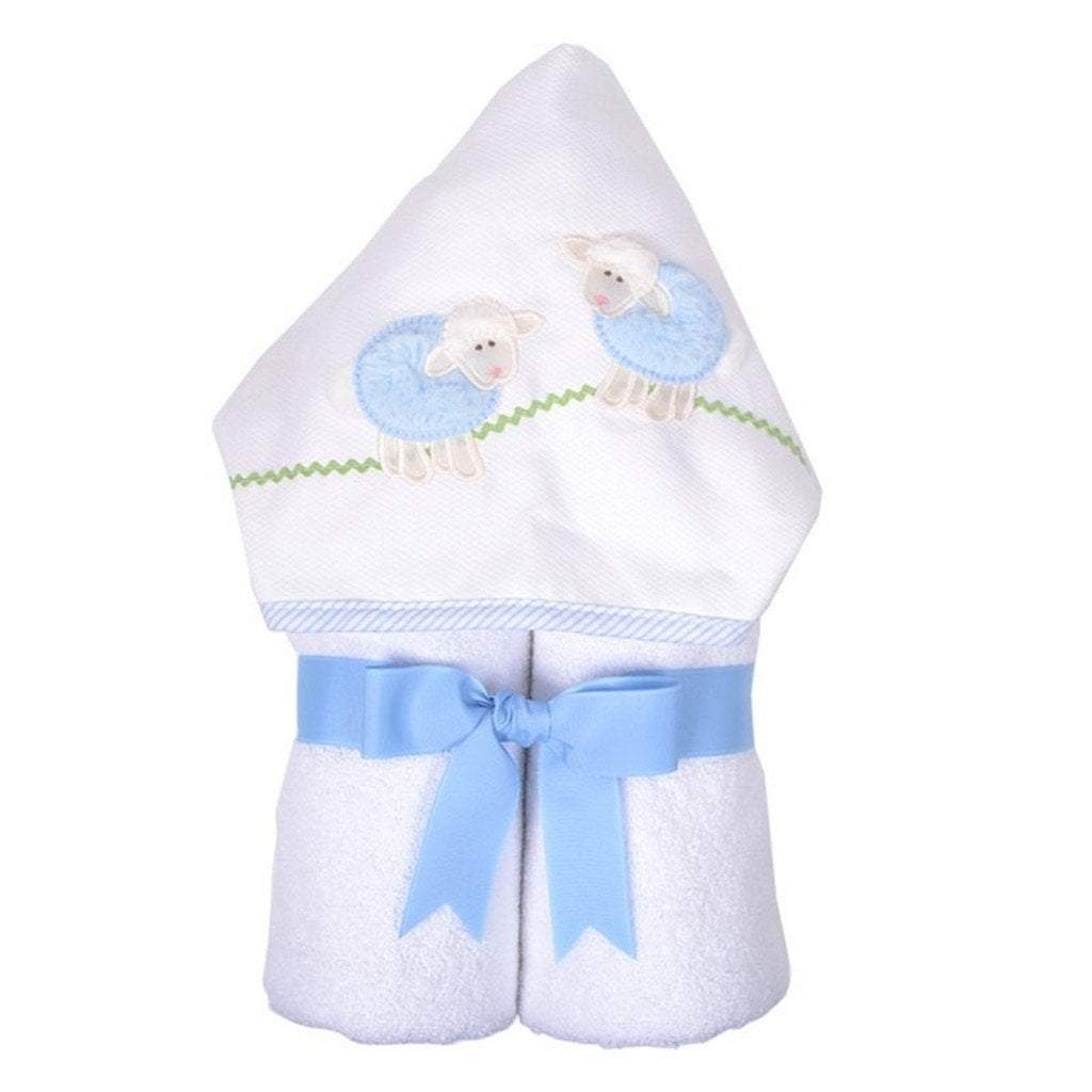 3 Marthas Baby Care 3 Marthas Everykid Hooded Towel Blue Lamb