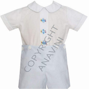 Anavini Infant Apparel 12M / Blue Anavini Airplane Embroidered Infant Boys Light Blue Stripe Button On