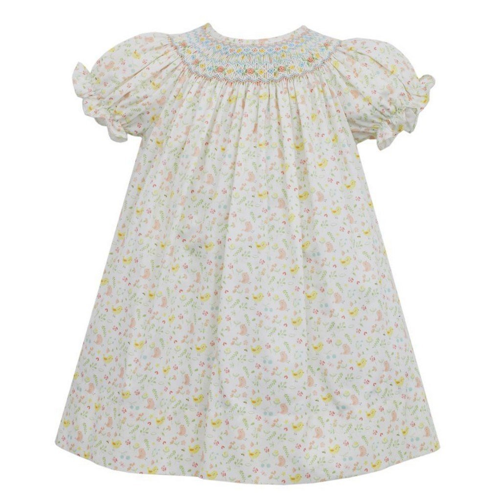 Anavini Apparel 12 Mo / Yellow Floral Anavini Lindsey Short Sleeve Bishop Yellow Floral