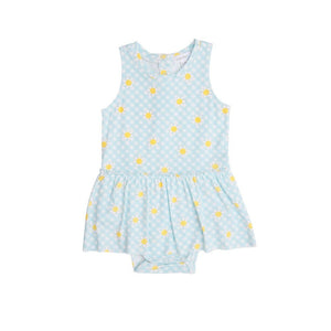 Angel Dear Apparel 3-6 Mo / Light Green Angel Dear Gingham Daisy Skirt Bodysuit