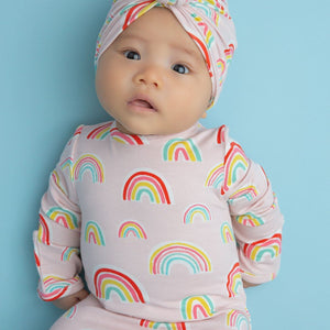 Angel Dear Apparel 0-3 Mo / Rainbow Pink Angel Dear Rainbows Pink Knotted Gown