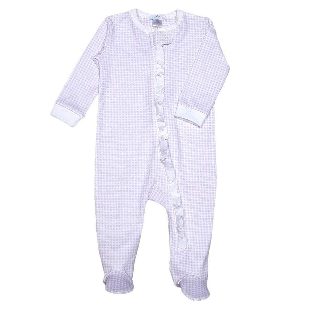 Baby Bliss Apparel Newborn-3 Mo / Purple Gingham Baby Bliss Blue Purple Gingham Ruffle Zipper Footie