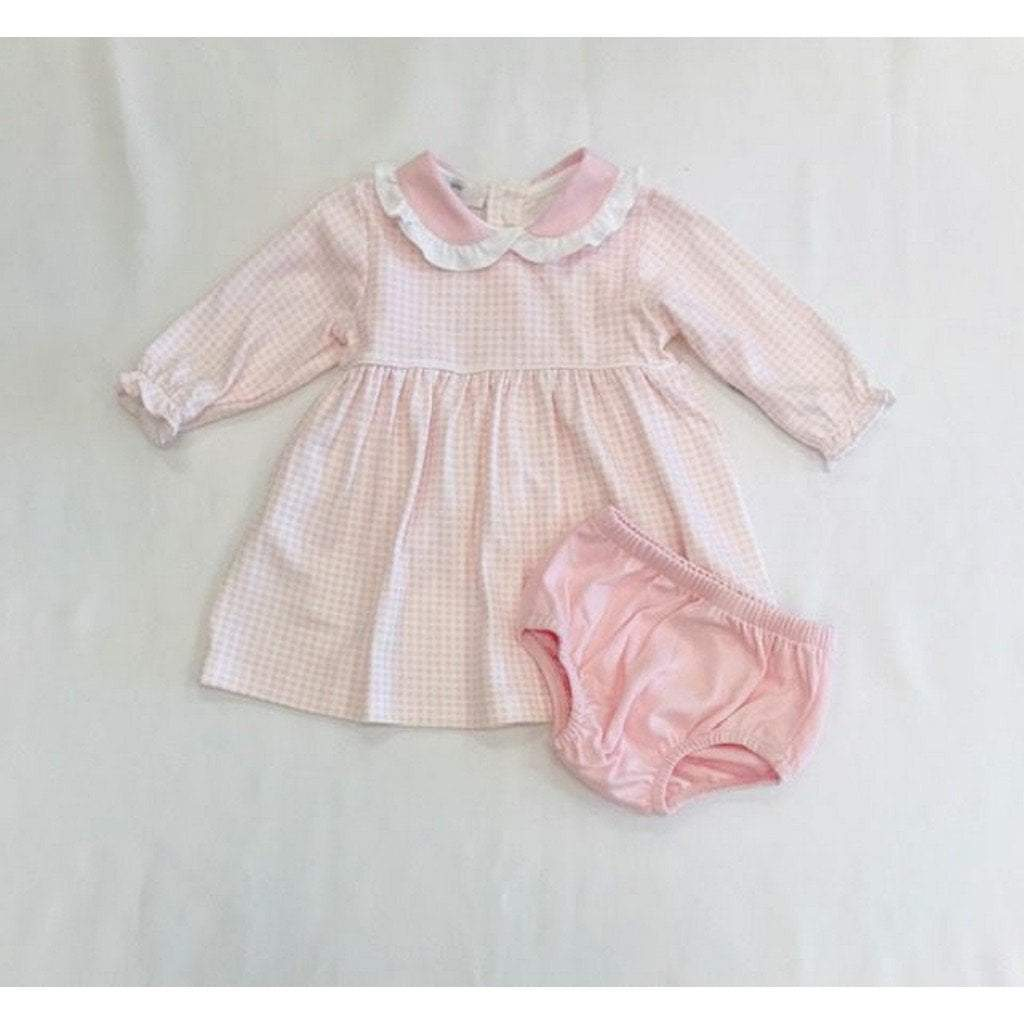 Baby Bliss Apparel 0-3 Mo / Pink Gingham Baby Bliss Olivia Pink Gingham Dress With Diaper Cover