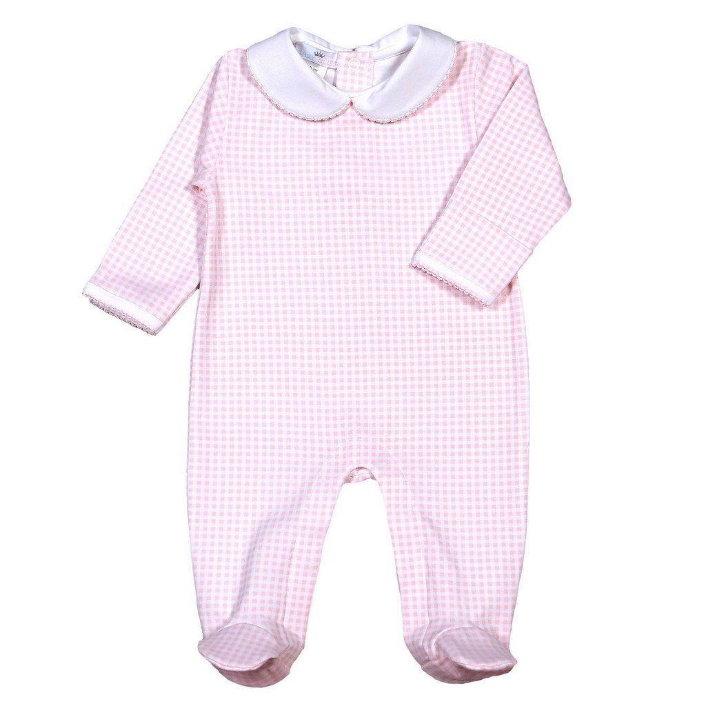 Baby Bliss Apparel Newborn / Pink Gingham Baby Bliss Olivia Pink Gingham Pima Footie with Collar