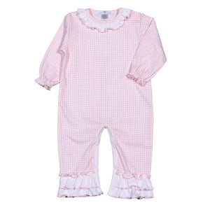Baby Bliss Apparel 9-12 Mo / Pink Gingham Baby Bliss Olivia Pink Gingham Ruffle Playsuit