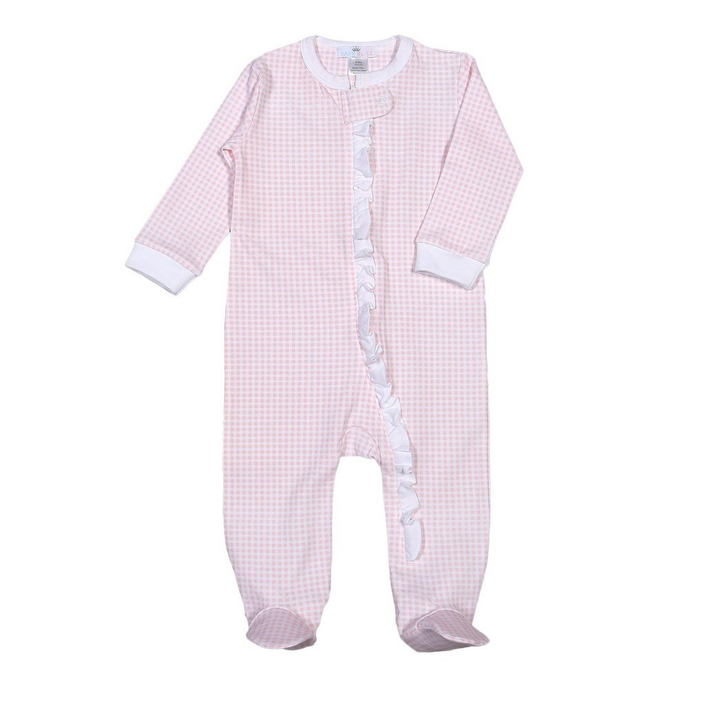 Baby Bliss Apparel Newborn-3 Mo / Pink Gingham Baby Bliss Pink Gingham Ruffle Pima Zipper Footie