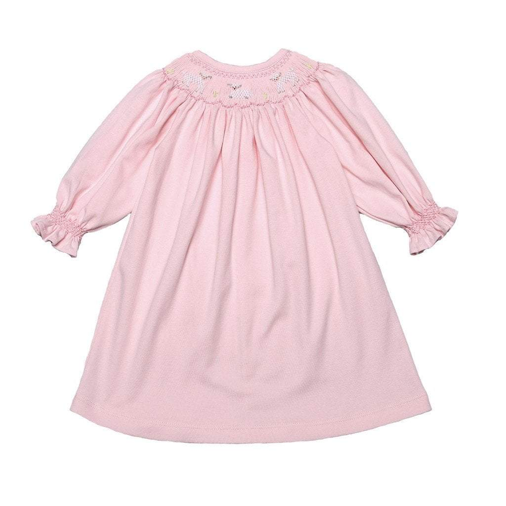 Baby Bliss Apparel Baby Bliss Pink Sheep Pima Smocked Dress