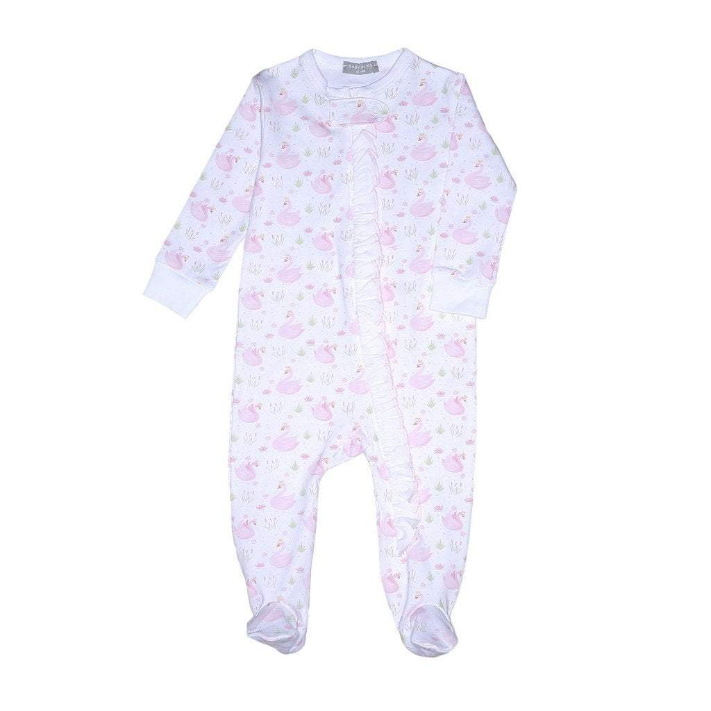 Baby Bliss Apparel Baby Bliss Swan Ruffle Zipper Pima Footie