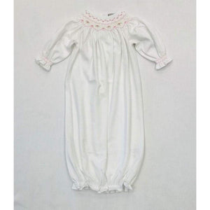 Baby Bliss Apparel Newborn / White Baby Bliss White and Pink Pima Smocked Gown