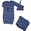 Baby Grey Baby's Welcome Home 3 Piece Baby Gown Set-Navy-Gifts & Apparel-Babysupermarket