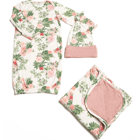 Baby Grey Baby's Welcome Home 3 Piece Infant Gown Set-Beige Floral-Gifts & Apparel-Babysupermarket
