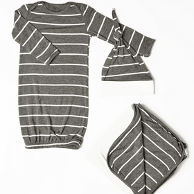 Baby Grey Baby's Welcome Home 3 Piece Infant Gown Set-Charcoal-Gifts & Apparel-Babysupermarket