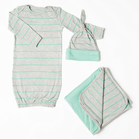 Baby Grey Baby's Welcome Home 3 Piece Infant Gown Set-Seafoam-Gifts & Apparel-Babysupermarket