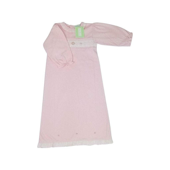Baby Threads Infant Apparel Pink / Newborn Baby Threads Newborn Girl Smocked Gown with Rosebuds