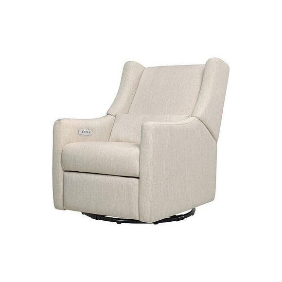 Babyletto Kiwi Electric Glider Recliner White Linen-Furniture-Babysupermarket