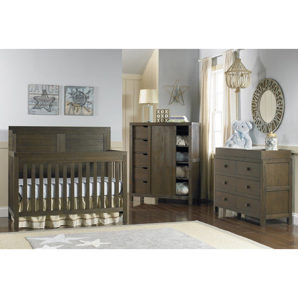 Ti Amo Castello Full Panel Convertible Baby Crib Weathered Brown-Furniture-Babysupermarket