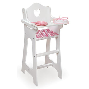 Badger Basket Dolls Badger Basket Doll High Chair with Plate Bib Spoon - Chevron Print