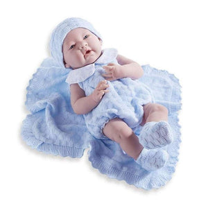 JC Toys Dolls Berenguer Boutique 15 inch La Newborn Blue Knit Set Anatomically Correct Boy Baby Doll