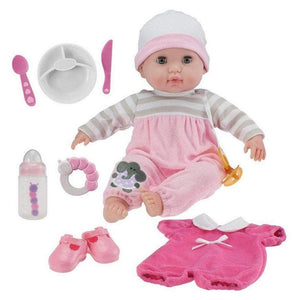 "JC Toys Dolls Berenguer Boutique 15"" Soft Body Baby Doll - Pink 10 Piece"