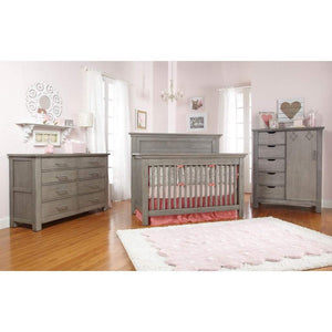 Bivona Furniture Bivona Dolce Babi Lucca Flat Top Convertible Baby Bed and Double Dresser