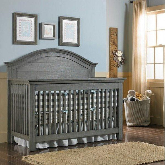 Bivona Dolce Babi Lucca Convertible Baby Bed and Double Dresser Weathered Grey-Furniture-Babysupermarket