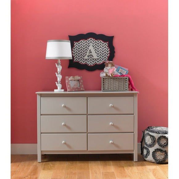 Fisher-Price Double Dresser with 6 Drawers Misty Grey-Furniture-Babysupermarket