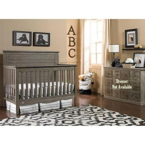 Fisher-Price Quinn Full Panel Convertible Crib Vintage Grey-Furniture-Babysupermarket