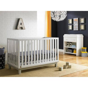 Fisher-Price Riley Island Crib Snow White and Misty Grey-Furniture-Babysupermarket
