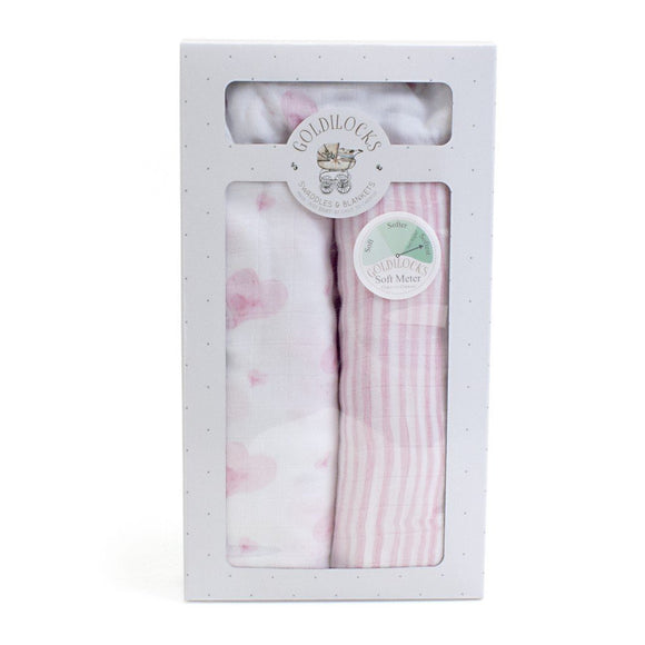 Child to Cherish Gifts & Apparel Child to Cherish Bamboo Muslin Swaddle Blanket Hearts & Stripes Pink