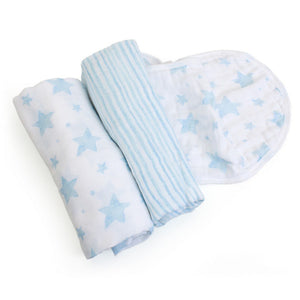 Child to Cherish Gifts & Apparel Child to Cherish Bamboo Muslin Swaddle Blanket Stars & Stripes Blue