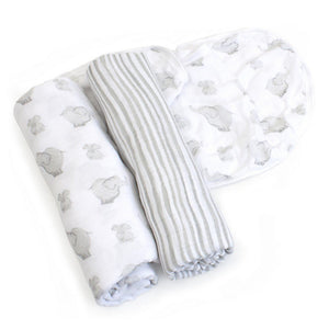 Child to Cherish Gifts & Apparel Child to Cherish Goldilocks Swaddle Blanket Elephant & Bubble Gray