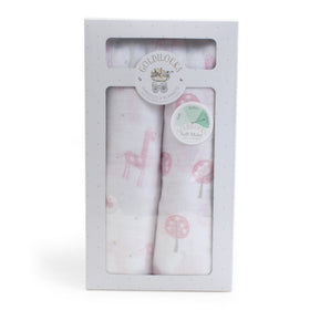 Child to Cherish Gifts & Apparel Child to Cherish Goldilocks Swaddle Blanket Giraffes & Trees Pink