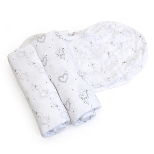 Child to Cherish Gifts & Apparel Child to Cherish Goldilocks Swaddle Blanket Swans & Hearts Gray