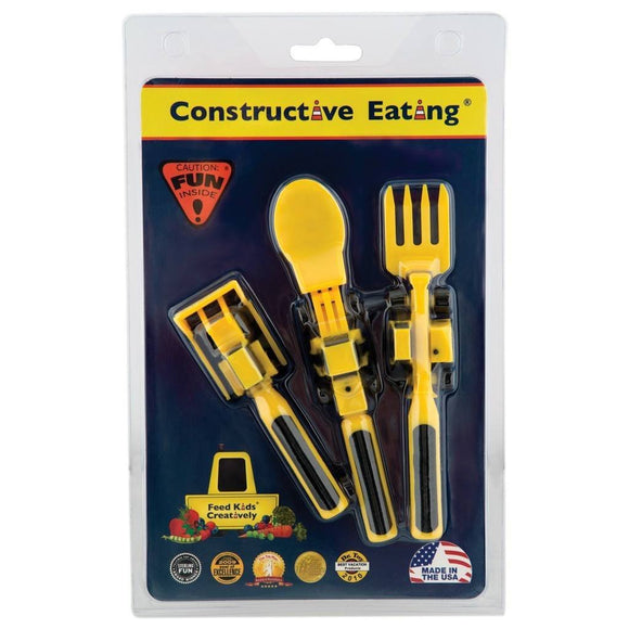Constructive Eating Construction Utensils 3 Piece Set-Toys-Babysupermarket