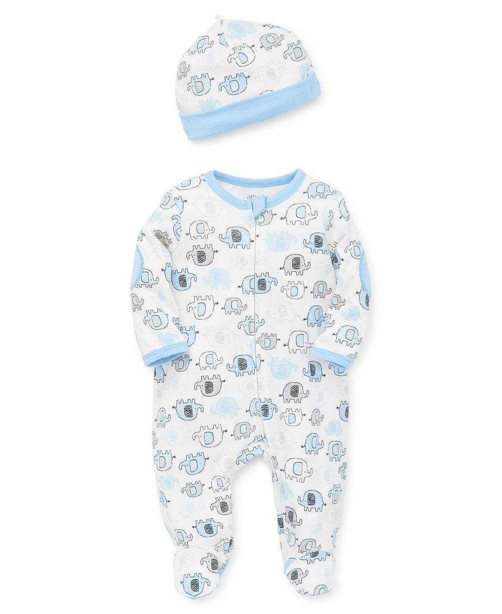Little Me Apparel Cute Elephant Footed One-Piece and Hat